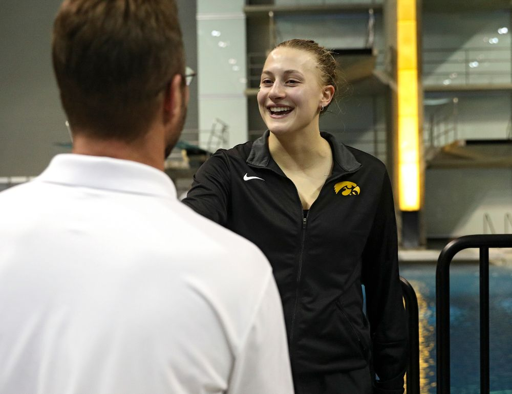 Iowa's Samantha Tamborski on the awards stand after the women's 3 meter diving final event during the 2020 Women's Big Ten Swimming and Diving Championships at the Campus Recreation and Wellness Center in Iowa City on Friday, February 21, 2020. (Stephen Mally/hawkeyesports.com)