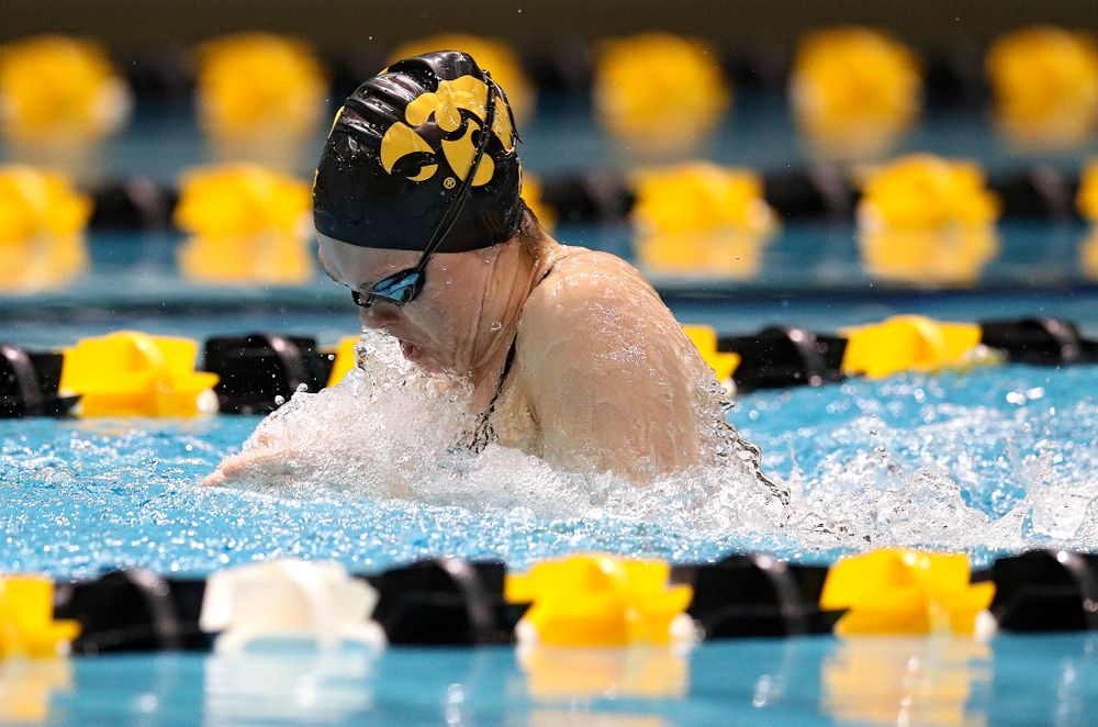 Iowa's Lexi Horner swims the women's 50 yard breaststroke event during their meet at the Campus Recreation and Wellness Center in Iowa City on Friday, February 7, 2020. (Stephen Mally/hawkeyesports.com)