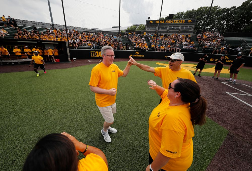 Head Men's Basketball Coach Fran McCaffery during the Iowa Student Athlete Kickoff Kickball game  Sunday, August 19, 2018 at Duane Banks Field. (Brian Ray/hawkeyesports.com)