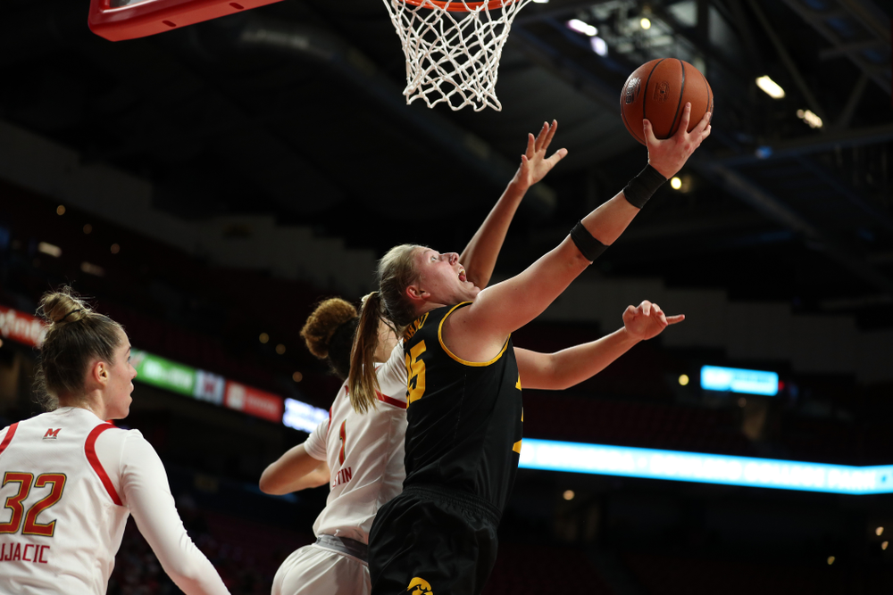 Iowa Hawkeyes forward/center Monika Czinano (25) against the Maryland Terrapins Thursday, February 13, 2020 at the Xfinity Center in College Park, MD. (Brian Ray/hawkeyesports.com)