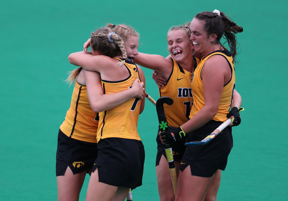 Iowa Hawkeyes Katie Birch (11) and defenseman Anthe Nijziel (6) celebrate a goal against Columbia Sunday, September 8, 2019 at Grant Field. (Brian Ray/hawkeyesports.com)