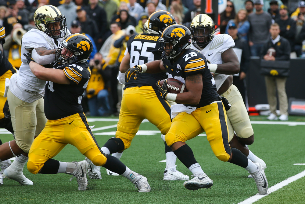 Iowa Hawkeyes running back Toren Young (28) during Iowa football vs Purdue on Saturday, October 19, 2019 at Kinnick Stadium. (Lily Smith/hawkeyesports.com)