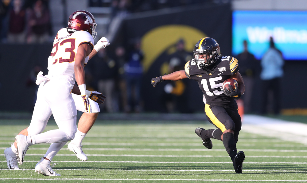Iowa Hawkeyes running back Tyler Goodson (15) against Minnesota Saturday, September 28, 2019 at Kinnick Stadium. (Max Allen/hawkeyesports.com)
