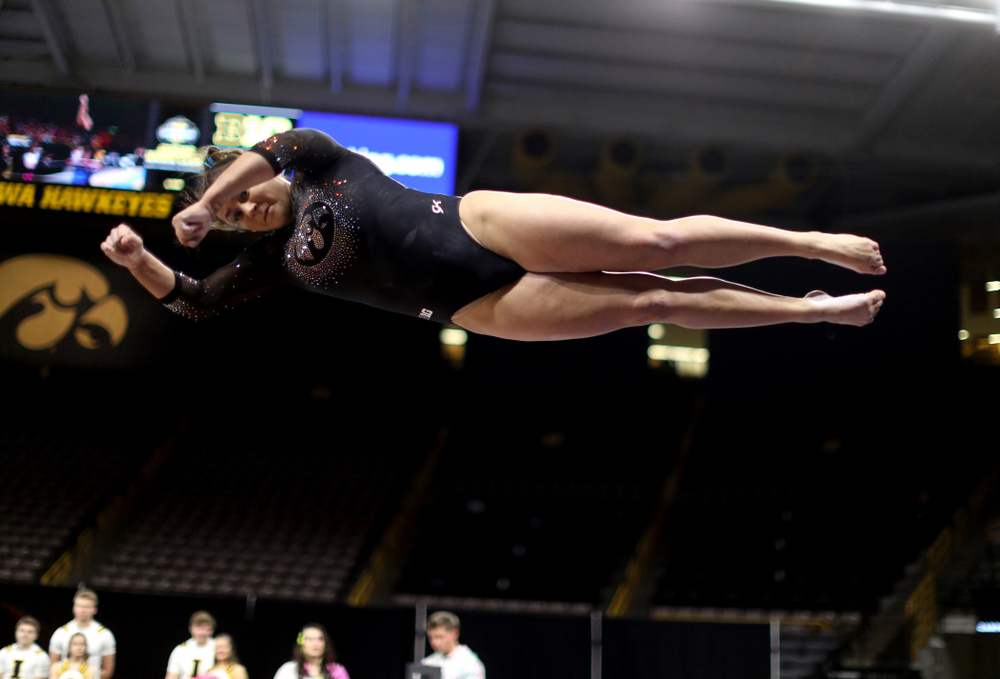 Iowa's Daniela Castillo competes on the vault against Michigan Friday, February 14, 2020 at Carver-Hawkeye Arena. (Brian Ray/hawkeyesports.com)
