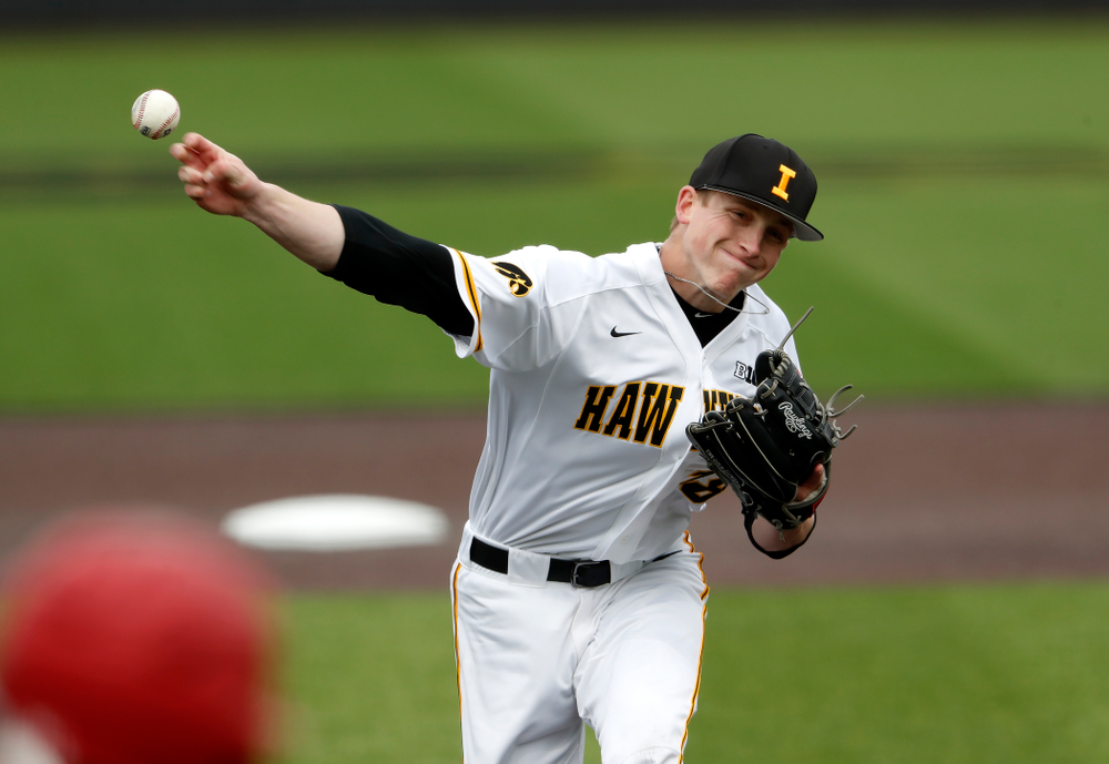 Iowa Hawkeyes pitcher Shane Ritter (18) during a double header against the Indiana Hoosiers Friday, March 23, 2018 at Duane Banks Field. (Brian Ray/hawkeyesports.com)