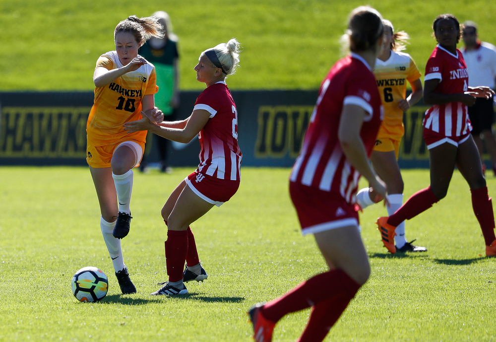 Iowa Hawkeyes midfielder Natalie Winters (10) dribbles the ball during a game against Indiana at the Iowa Soccer Complex on September 23, 2018. (Tork Mason/hawkeyesports.com)