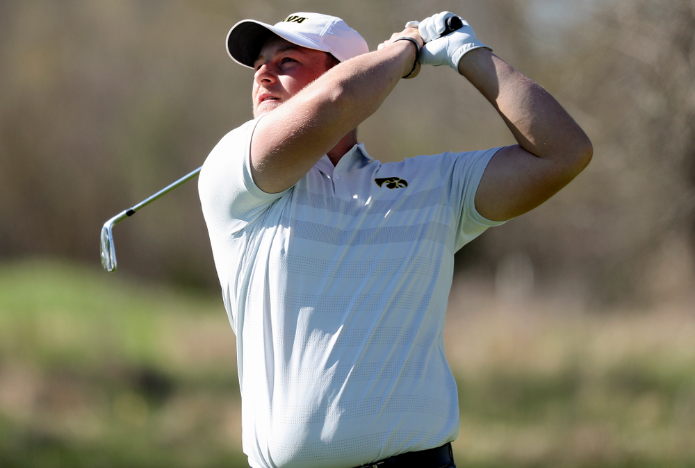 Iowa's Alex Schaake tees off during the first round of the Hawkeye Invitational at Finkbine Golf Course in Iowa City on Saturday, Apr. 20, 2019. (Stephen Mally/hawkeyesports.com)