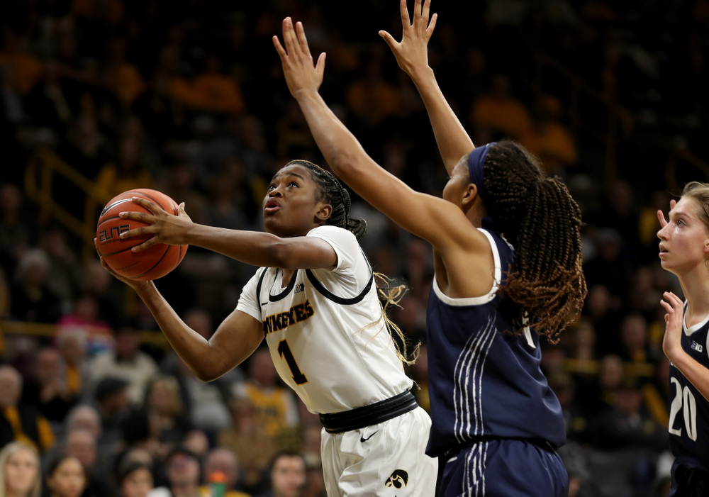 Iowa Hawkeyes guard Tomi Taiwo  (1) against Penn State Saturday, February 22, 2020 at Carver-Hawkeye Arena. (Brian Ray/hawkeyesports.com)