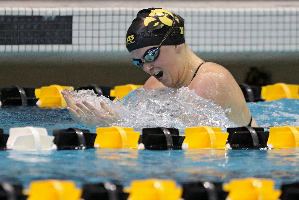 Iowa's Cc Crane swims the women's 200-yard breaststroke event during their meet against Michigan State and Northern Iowa at the Campus Recreation and Wellness Center in Iowa City on Friday, Oct 4, 2019. (Stephen Mally/hawkeyesports.com)