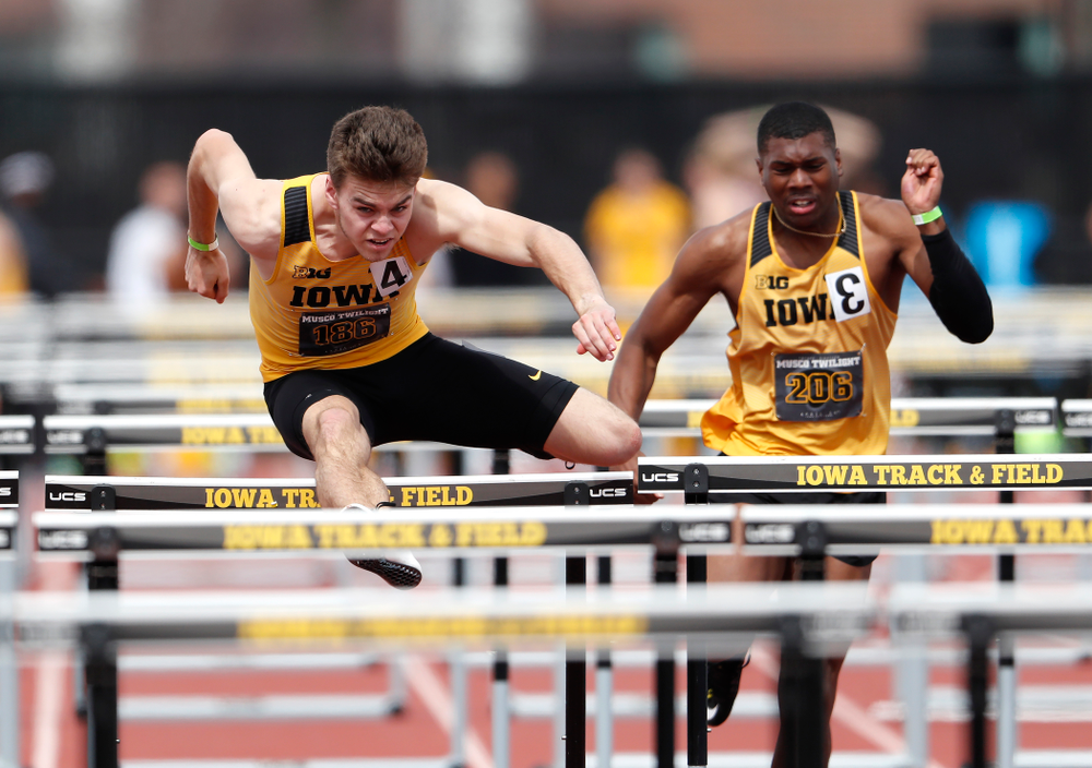 Iowa's Chris Douglas runs the 110 meter hurdles during the 2018 MUSCO Twilight Invitational  Thursday, April 12, 2018 at the Cretzmeyer Trac
