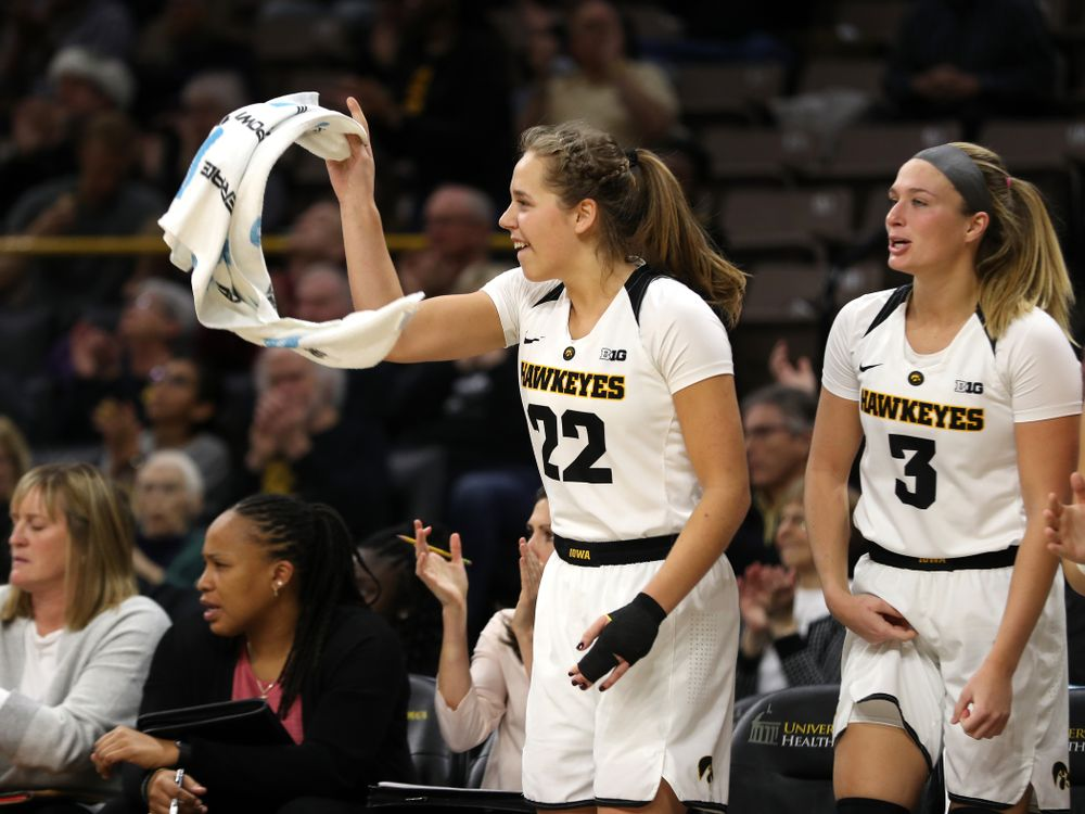 Iowa Hawkeyes guard Kathleen Doyle (22) against the Northern Iowa Panthers in the Hy-Vee Classic Sunday, December 16, 2018 at Carver-Hawkeye Arena. (Brian Ray/hawkeyesports.com)