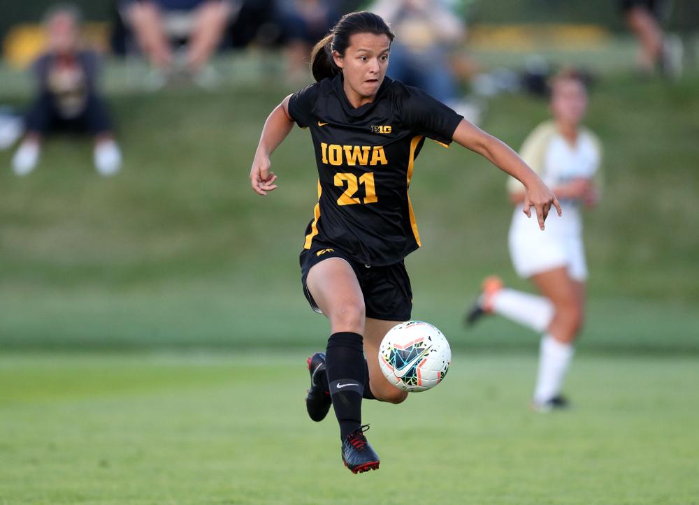 Iowa Hawkeyes forward Emma Tokuyama (21) against Western Michigan Thursday, August 22, 2019 at the Iowa Soccer Complex. (Brian Ray/hawkeyesports.com)