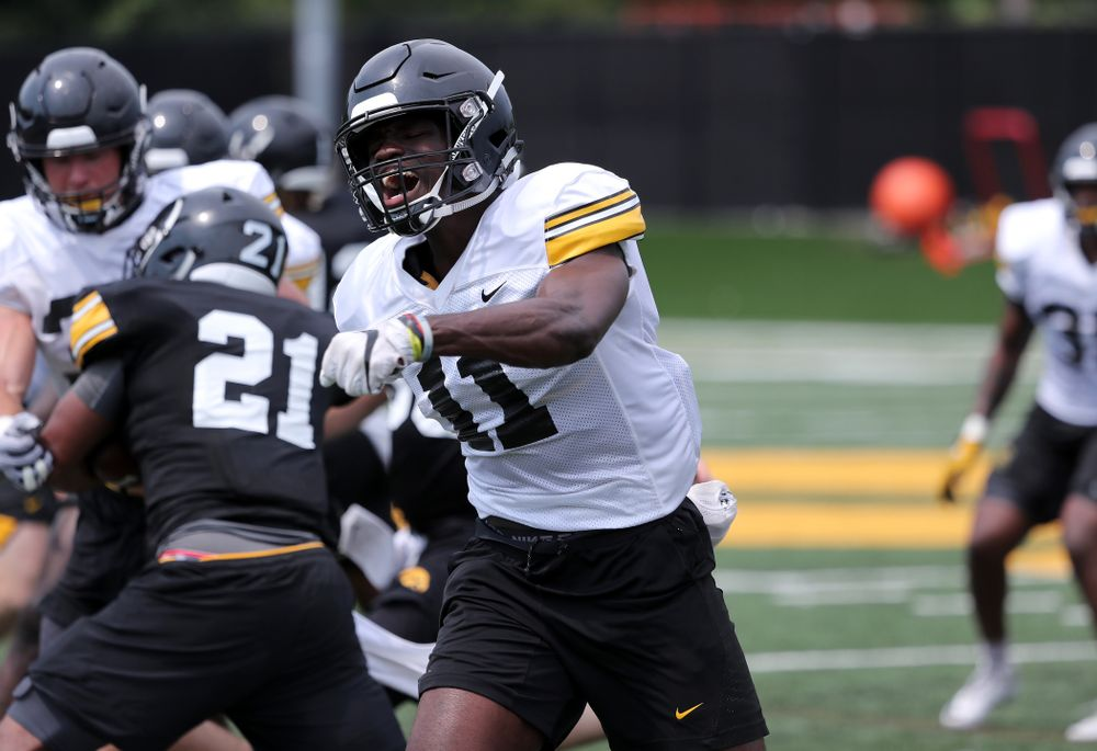 Iowa Hawkeyes defensive back Michael Ojemudia (11) during the third practice of fall camp Sunday, August 5, 2018 at the Kenyon Football Practice Facility. (Brian Ray/hawkeyesports.com)