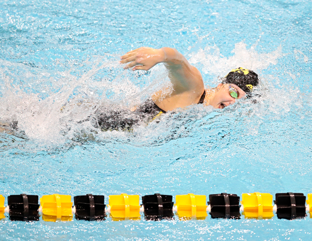 Iowa's Payton Lange swims the women's 200 yard freestyle event during their meet at the Campus Recreation and Wellness Center in Iowa City on Friday, February 7, 2020. (Stephen Mally/hawkeyesports.com)