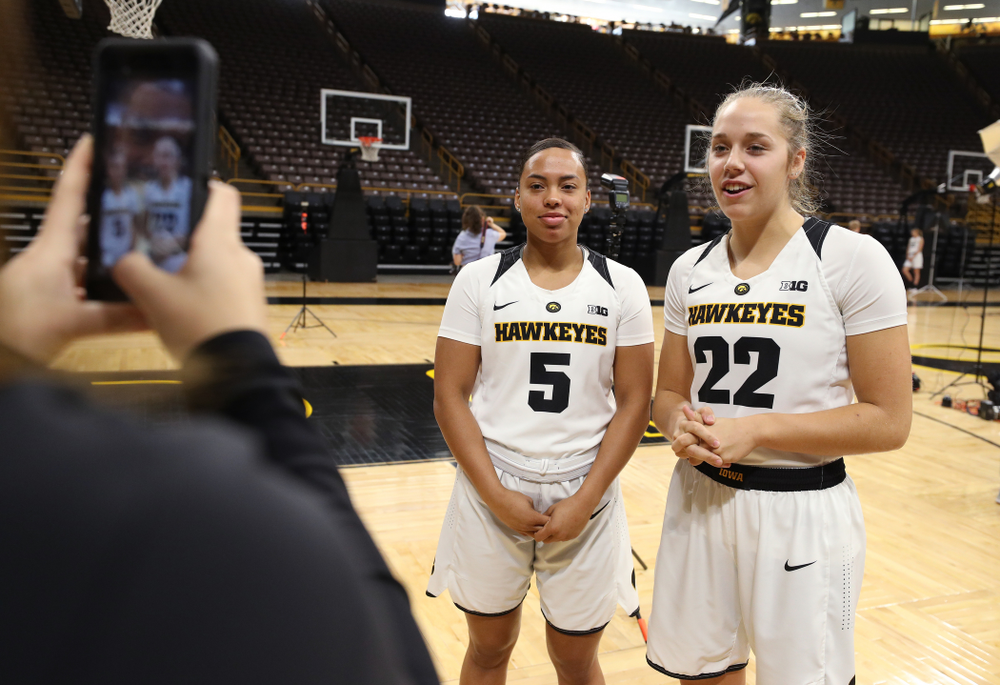 Iowa Hawkeyes guard Alexis Sevillian (5) and Iowa Hawkeyes guard Kathleen Doyle (22) during the team's annual media day Wednesday, October 31, 2018 at Carver-Hawkeye Arena. (Brian Ray/hawkeyesports.com)