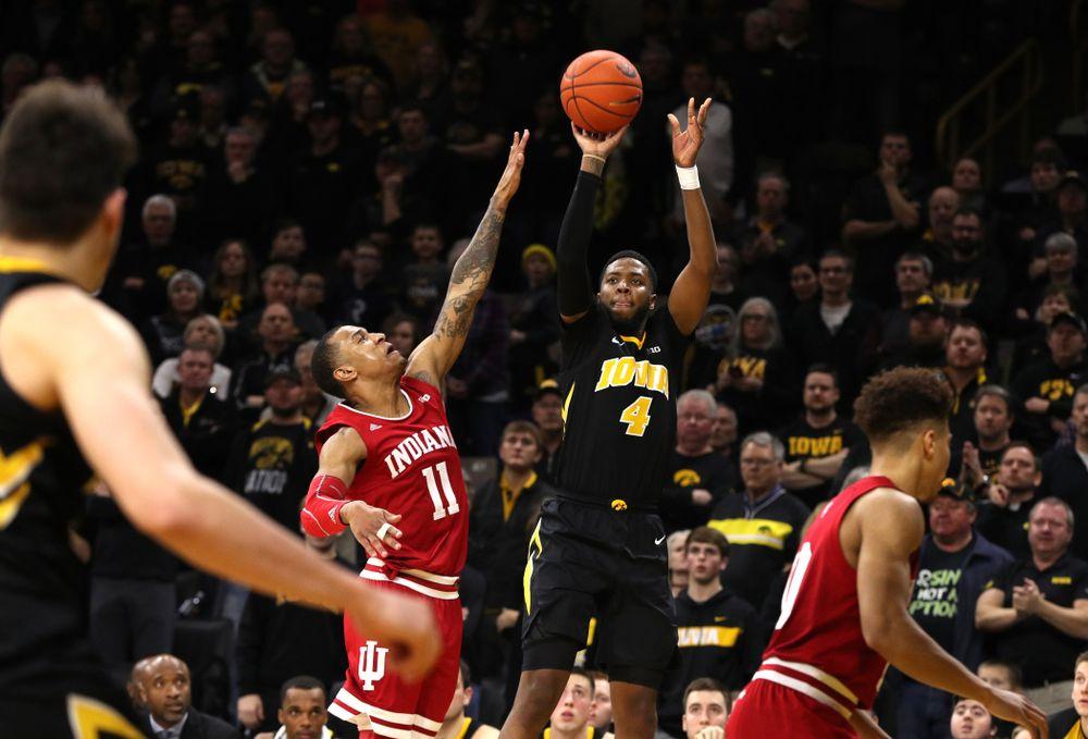 Iowa Hawkeyes guard Isaiah Moss (4) against the Indiana Hoosiers Friday, February 22, 2019 at Carver-Hawkeye Arena. (Brian Ray/hawkeyesports.com)