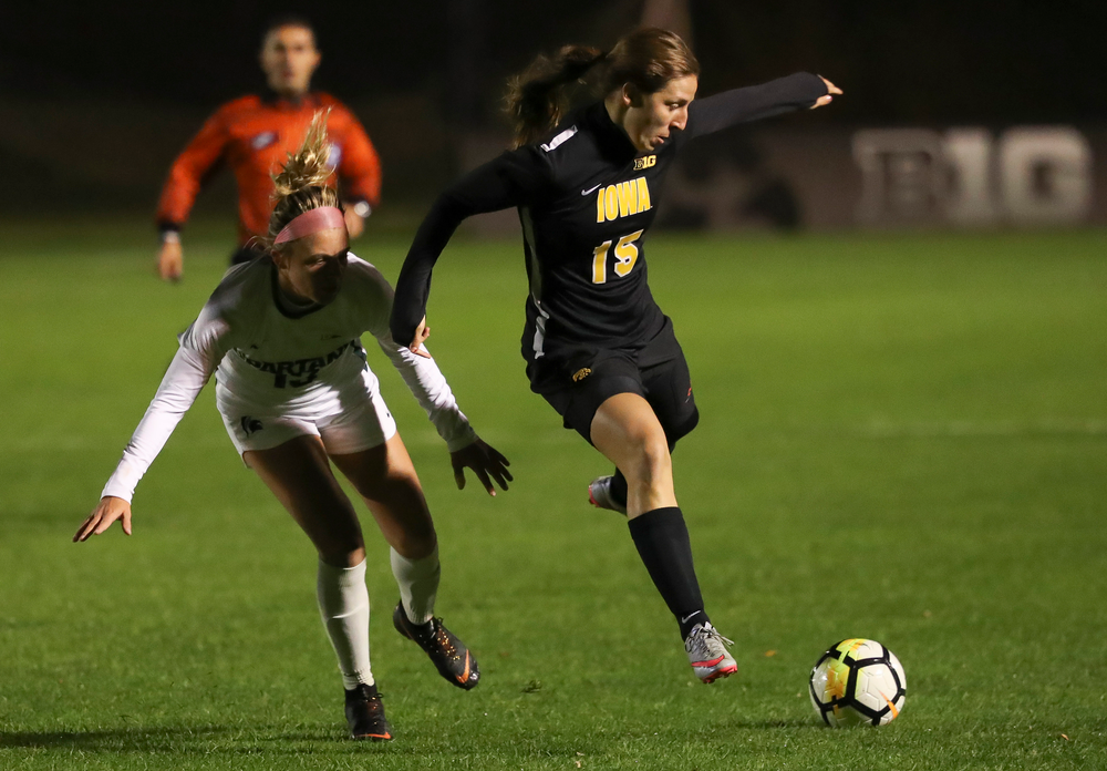 Iowa Hawkeyes forward Rose Ripslinger (15) dribbles the ball during a game against Michigan State at the Iowa Soccer Complex on October 12, 2018. (Tork Mason/hawkeyesports.com)