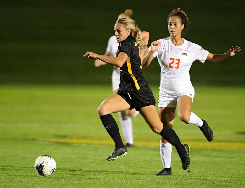 Iowa midfielder Hailey Rydberg (2) moves with the ball during the first half of their match against Illinois at the Iowa Soccer Complex in Iowa City on Thursday, Sep 26, 2019. (Stephen Mally/hawkeyesports.com)