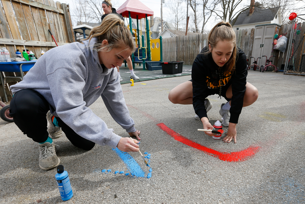 Iowa women's basketball players Makenzie Meyer and Kathleen Doyle