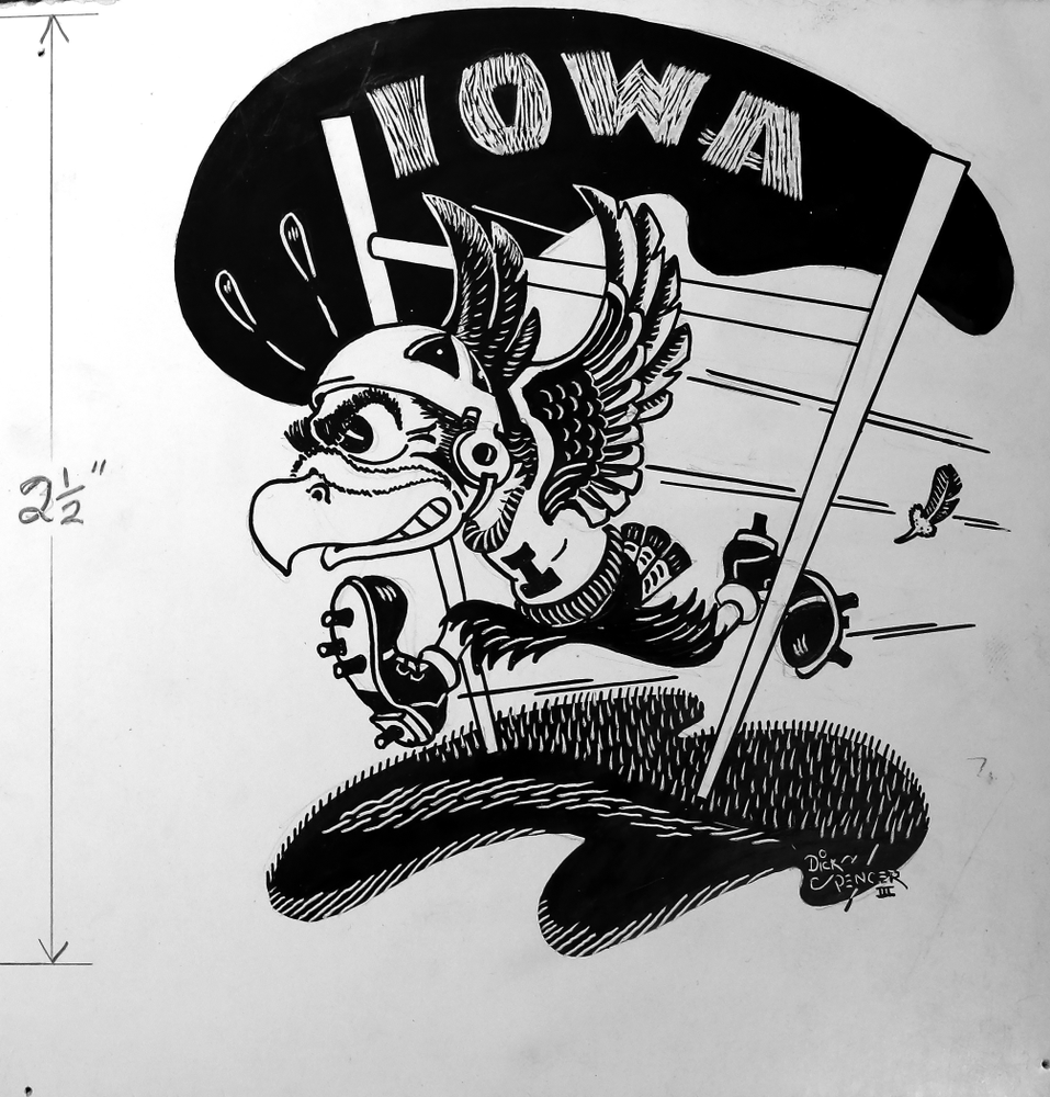 Jane Roth sits with some of the original drawings of Herky the Hawk Friday, April 20, 2018 at the University of Iowa Library. Roth has donated the drawings, which were created by artist Dick Spencer, to the library's special collection. (Brian Ray/hawkeyesports.com)