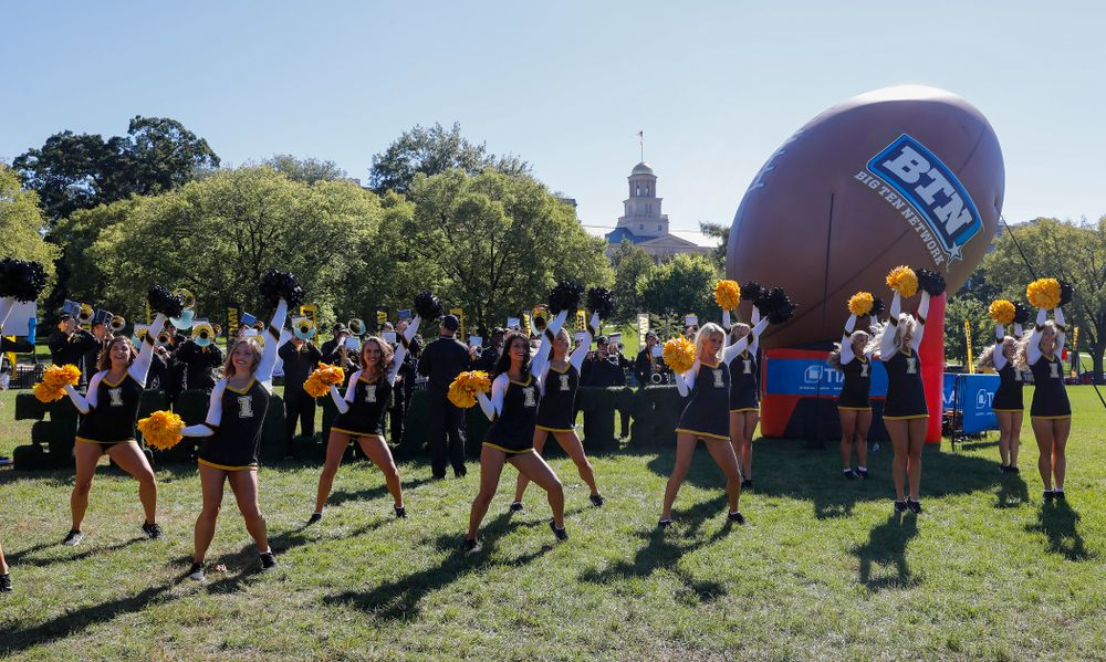 The Iowa Dance Team performs as the BTN Tailgate does a live show Saturday, September 22, 2018 at Hubbard Park on the University of Iowa Campus. (Brian Ray/hawkeyesports.com)