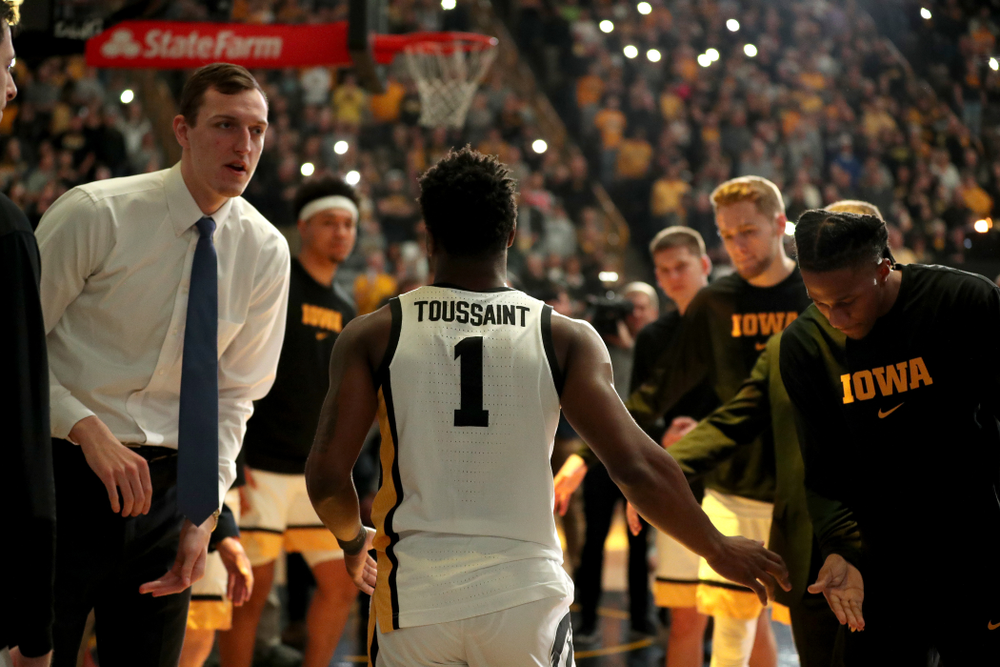 Iowa Hawkeyes guard Joe Toussaint (1) is introduced before their game against Penn State Saturday, February 29, 2020 at Carver-Hawkeye Arena. (Brian Ray/hawkeyesports.com)