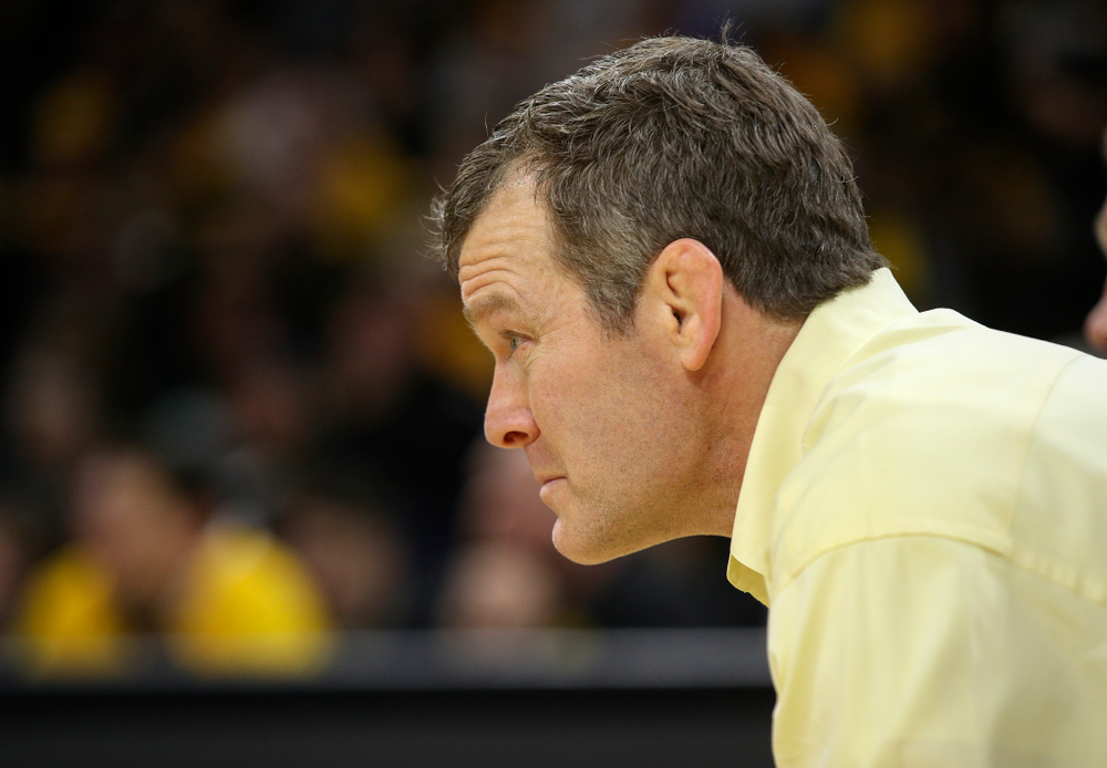 Iowa head coach Tom Brands looks on during Jacob Warner's 197-pound match during their dual at Carver-Hawkeye Arena in Iowa City on Friday, January 31, 2020. (Stephen Mally/hawkeyesports.com)