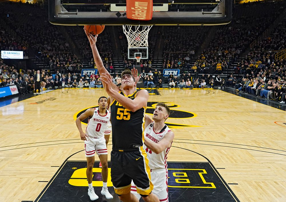 Iowa Hawkeyes center Luka Garza (55) puts up a shot during the first half of their game at Carver-Hawkeye Arena in Iowa City on Monday, January 27, 2020. (Stephen Mally/hawkeyesports.com)