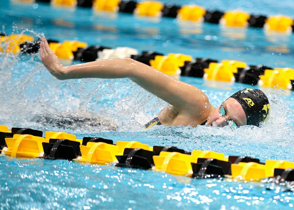 Iowa's Macy Rink swims the 800 yard freestyle relay event during the 2020 Big Ten Women's Swimming and Diving Championships at the Campus Recreation and Wellness Center in Iowa City on Wednesday, February 19, 2020. (Stephen Mally/hawkeyesports.com)