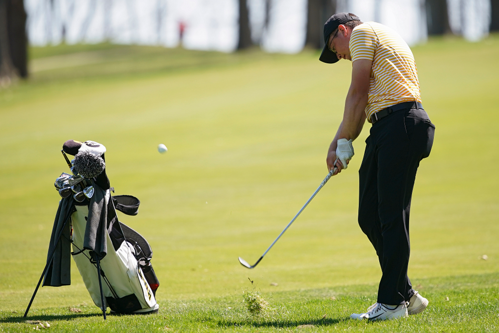 Iowa's Matthew Walker hits during the third round of the Hawkeye Invitational at Finkbine Golf Course in Iowa City on Sunday, Apr. 21, 2019. (Stephen Mally/hawkeyesports.com)