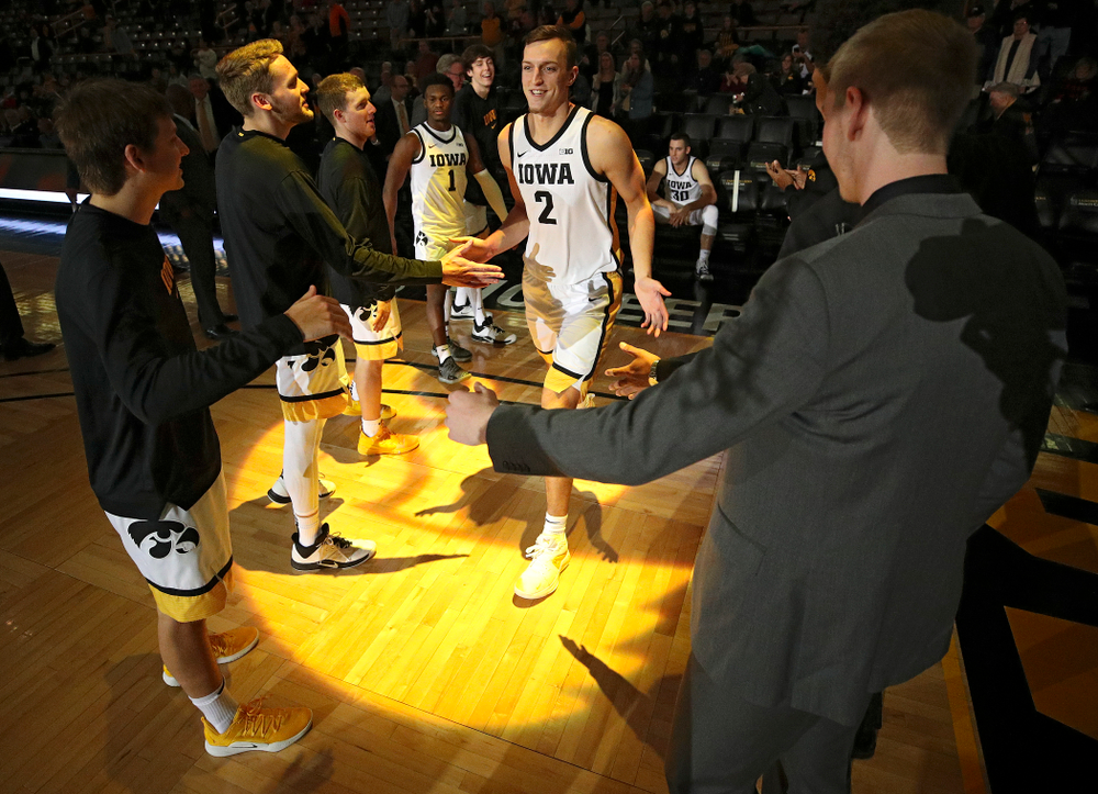 Iowa Hawkeyes forward Jack Nunge (2) is introduced before their exhibition game against Lindsey Wilson College at Carver-Hawkeye Arena in Iowa City on Monday, Nov 4, 2019. (Stephen Mally/hawkeyesports.com)