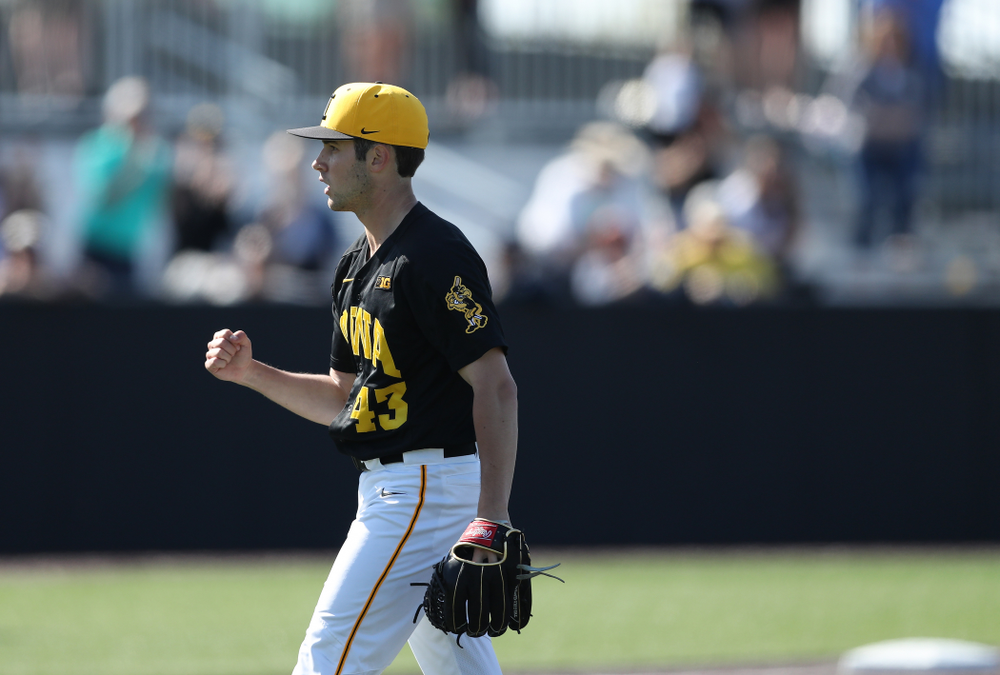 Iowa Hawkeyes Grant Leonard (43) reacts after getting the final out during game two against UC Irvine Saturday, May 4, 2019 at Duane Banks Field. (Brian Ray/hawkeyesports.com)