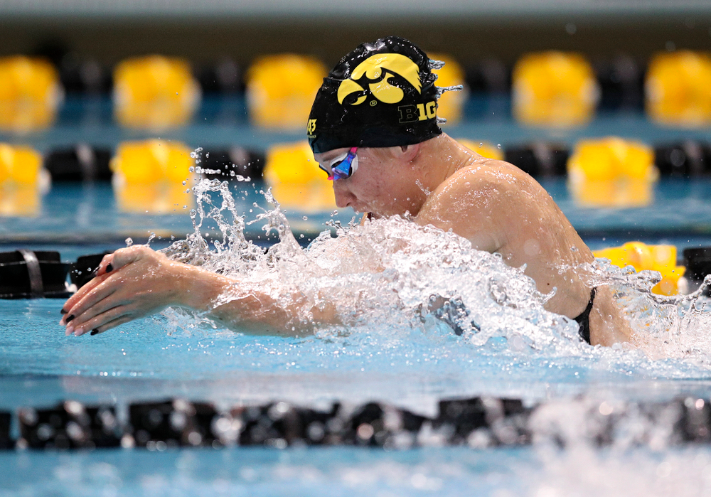 Iowa's Zoe Mekus swims the women's 50 yard breaststroke event during their meet at the Campus Recreation and Wellness Center in Iowa City on Friday, February 7, 2020. (Stephen Mally/hawkeyesports.com)