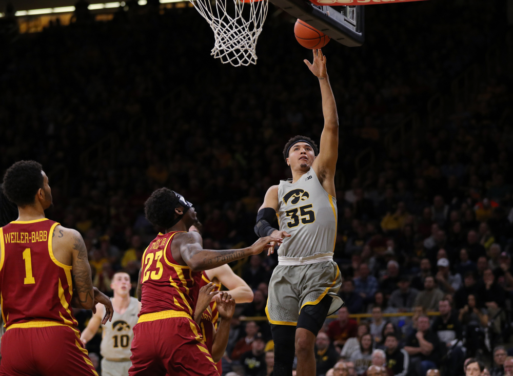 Iowa Hawkeyes forward Cordell Pemsl (35) against the Iowa State Cyclones in the Iowa Corn Cy-Hawk Series Thursday, December 6, 2018 at Carver-Hawkeye Arena. (Brian Ray/hawkeyesports.com)