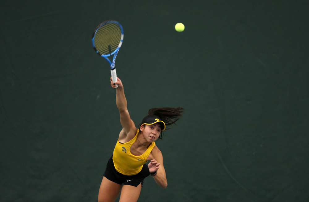 Iowa's Michelle Bacalla against the Iowa State Cyclones Friday, February 8, 2019 at the Hawkeye Tennis and Recreation Complex. (Brian Ray/hawkeyesports.com)