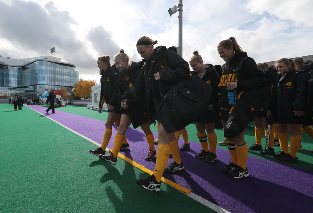 The seniors cross the line before their game against the Michigan Wolverines in the semi-finals of the Big Ten Tournament Friday, November 2, 2018 at Lakeside Field on the campus of Northwestern University in Evanston, Ill. (Brian Ray/hawkeyesports.com)
