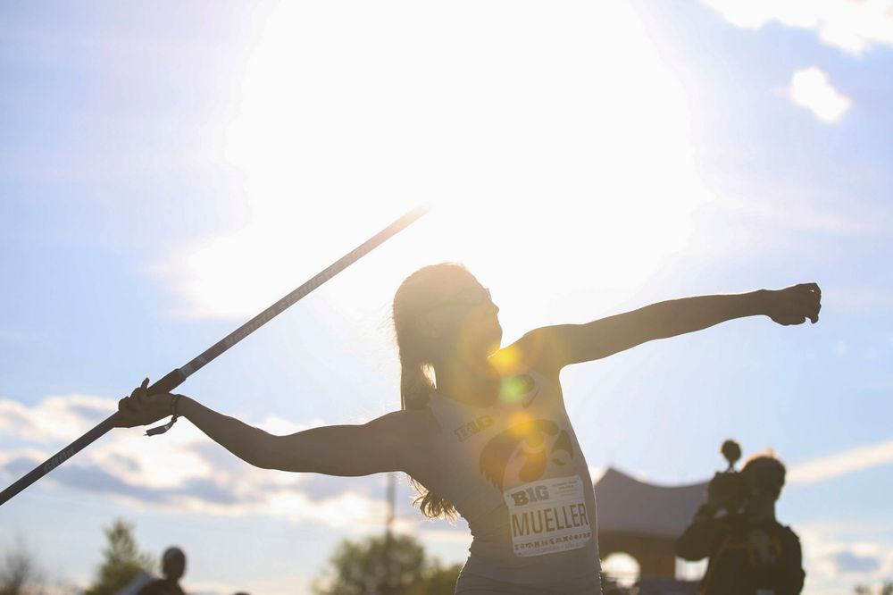 Iowa's Marissa Mueller throws during the women's javelin throw at the Big Ten Outdoor Track and Field Championships at Francis X. Cretzmeyer Track on Friday, May 10, 2019. (Lily Smith/hawkeyesports.com)