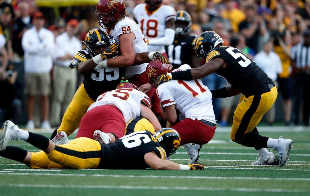 Iowa Hawkeyes defensive end Chauncey Golston (57) against the Iowa State Cyclones Saturday, September 8, 2018 at Kinnick Stadium. (Brian Ray/hawkeyesports.com)