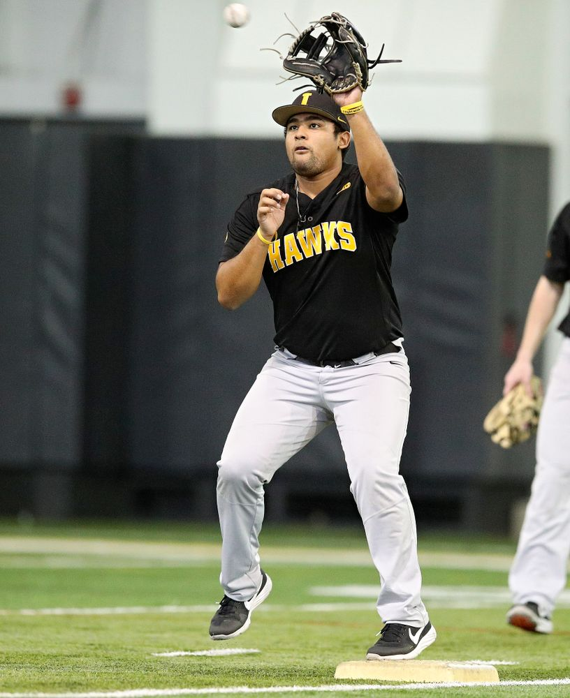 Iowa Hawkeyes infielder Izaya Fullard (20) fields a throw at second base during practice at the Hansen Football Performance Center in Iowa City on Friday, January 24, 2020. (Stephen Mally/hawkeyesports.com)