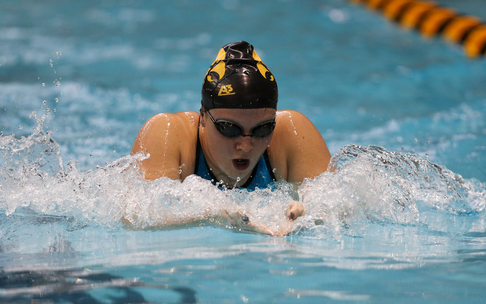 Iowa's Kelsey Maher competes in the 200-yard breaststroke during the third day of the Hawkeye Invitational at the Campus Recreation and Wellness Center on November 17, 2018. (Tork Mason/hawkeyesports.com)