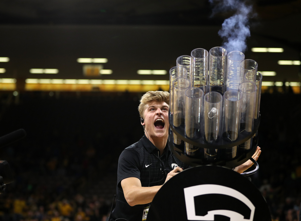 The Authentic Brands T-Shirt cannon during the Iowa Hawkeyes game against the Western Carolina Catamounts Tuesday, December 18, 2018 at Carver-Hawkeye Arena. (Brian Ray/hawkeyesports.com)