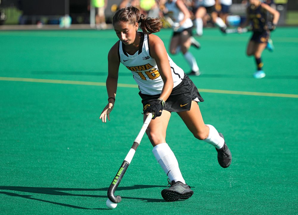 Iowa's Isabella Solaroli (16) moves with the ball during the fourth quarter of their game at Grant Field in Iowa City on Friday, Sep 13, 2019. (Stephen Mally/hawkeyesports.com)