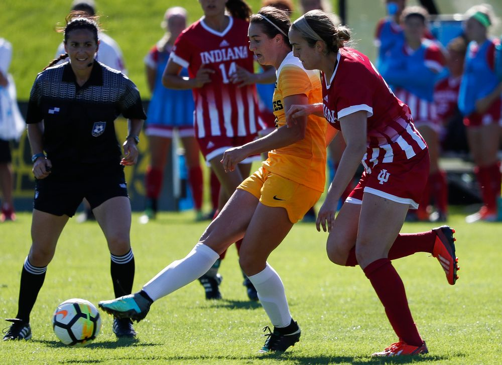 Iowa Hawkeyes forward Kaleigh Haus (4) passes the ball during a game against Indiana at the Iowa Soccer Complex on September 23, 2018. (Tork Mason/hawkeyesports.com)