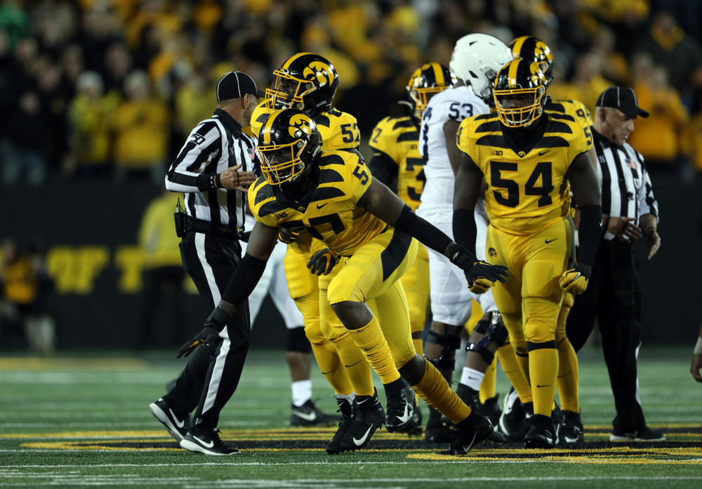 Iowa Hawkeyes defensive end Chauncey Golston (57) against the Penn State Nittany Lions Saturday, October 12, 2019 at Kinnick Stadium. (Brian Ray/hawkeyesports.com)
