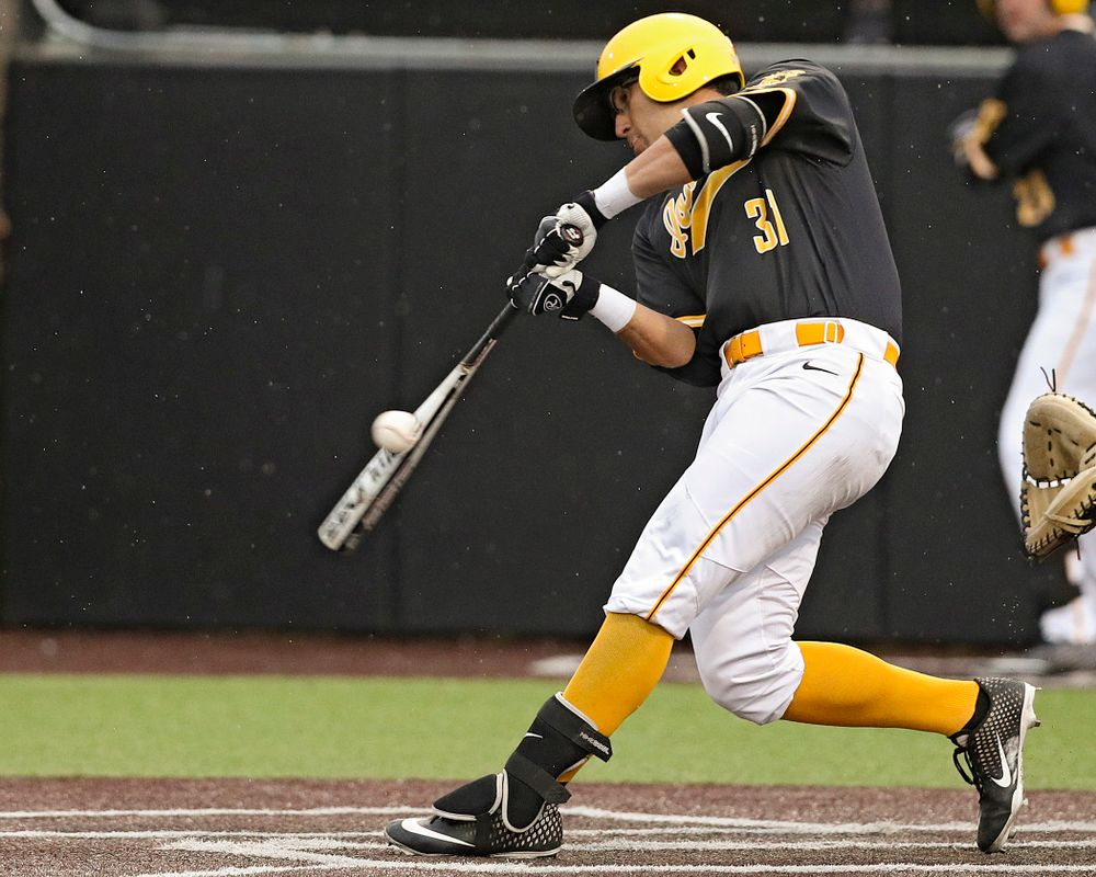 Iowa Hawkeyes third baseman Matthew Sosa (31) bats during the seventh inning of their game against Illinois State at Duane Banks Field in Iowa City on Wednesday, Apr. 3, 2019. (Stephen Mally/hawkeyesports.com)