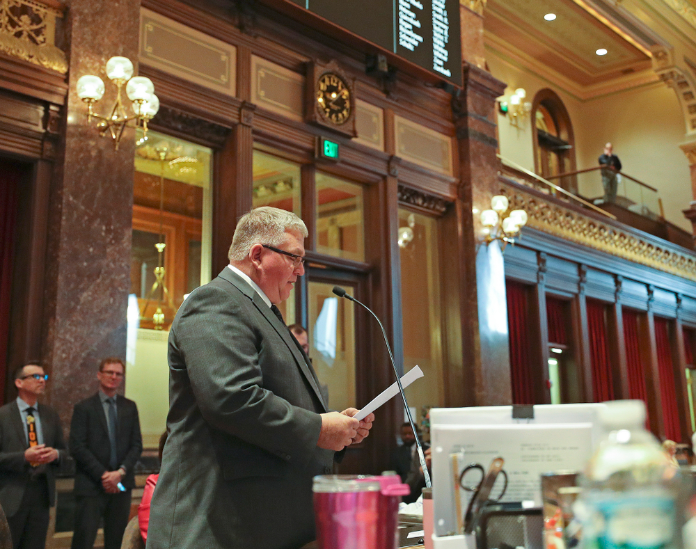 State Sen. Dan Zumbach introduces Senate Resolution 19 to honor Iowa's Spencer Lee in the Senate Chamber at the Iowa State Capitol Building on Tuesday, Apr. 9, 2019. (Stephen Mally/hawkeyesports.com)