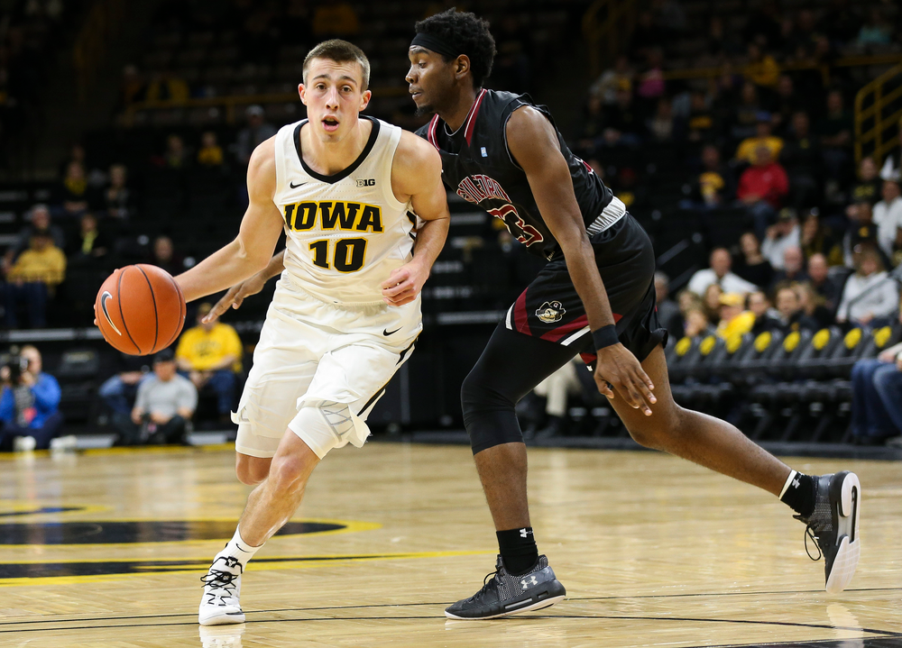 Iowa Hawkeyes guard Joe Wieskamp (10) drives into the lane during a game against Guilford College at Carver-Hawkeye Arena on November 4, 2018. (Tork Mason/hawkeyesports.com)
