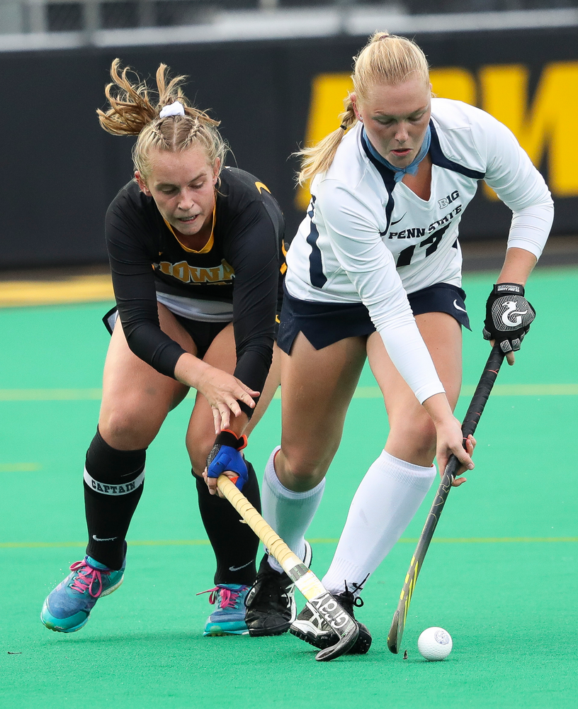 Iowa Hawkeyes midfielder Katie Birch (11) defends during a game against No. 6 Penn State at Grant Field on October 12, 2018. (Tork Mason/hawkeyesports.com)