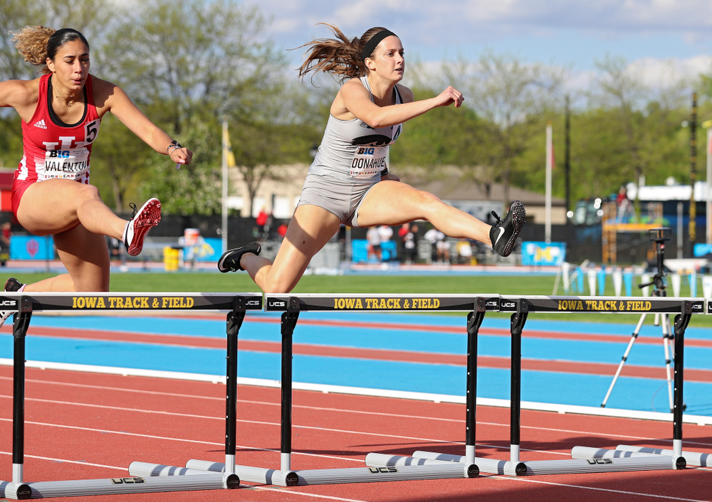 Iowa's Carly Donahue runs the women's 400 meter hurdles event on the first day of the Big Ten Outdoor Track and Field Championships at Francis X. Cretzmeyer Track in Iowa City on Friday, May. 10, 2019. (Stephen Mally/hawkeyesports.com)