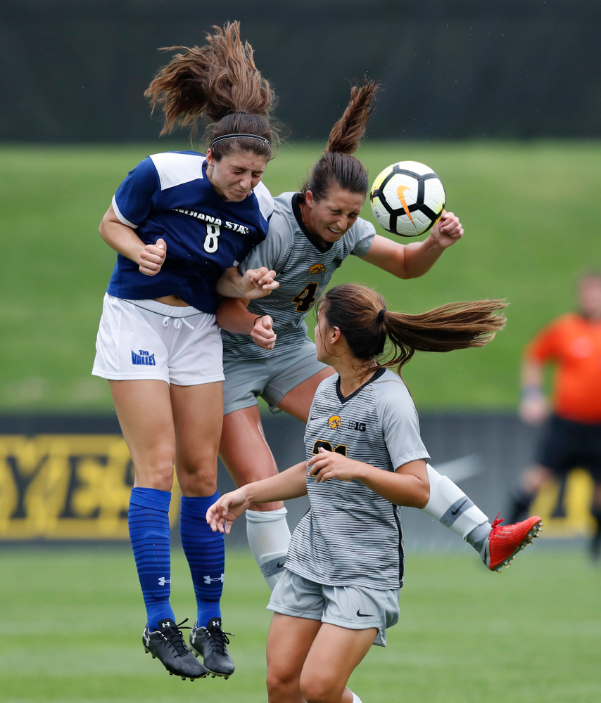 Iowa Hawkeyes Kaleigh Haus (4) against Indiana State Sunday, August 26, 2018 at the Iowa Soccer Complex. (Brian Ray/hawkeyesports.com)